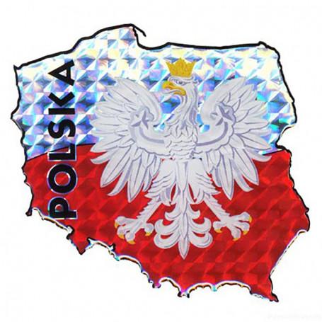 Naklejka na samochód - kontur Polski z orłem