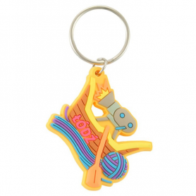Rubber keychain Lodz - boat with a camera