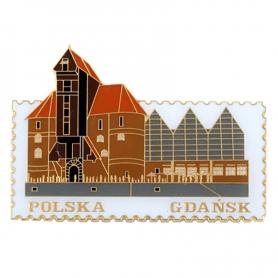 Magnes znaczek Gdańsk, żuraw