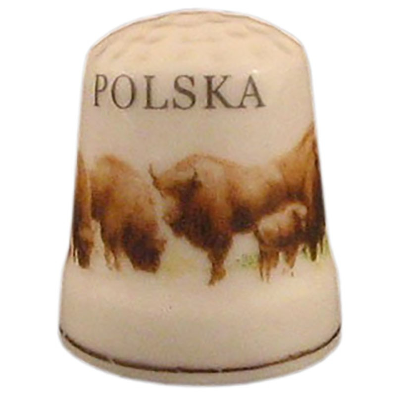 Dedal de cerámica - Polonia, bisonte