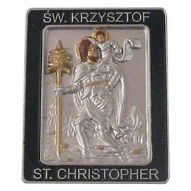 St. Christopher plaque with sticking tape