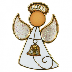 Angel with bell (enamel) - safety pin