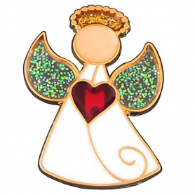 Buton, pin Angel cu inimă