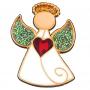 Angel with heart (enamel) - brooch