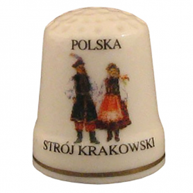 Ceramic thimble - dress Cracovian