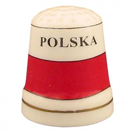 Dedal de cerámica - la bandera de Polonia