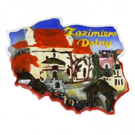 Fridge magnet, Poland shaped, Kazimierz Dolny