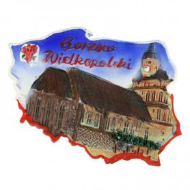 Fridge magnet, Poland shaped, Gorzow Wielkopolski