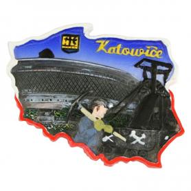 Fridge magnet, Poland shaped, Katowice