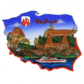 Fridge magnet, Poland shaped, Malbork