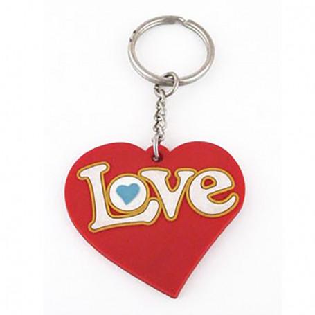 Porte-clés en caoutchouc - coeur