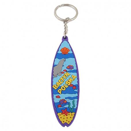 Porte-clés en caoutchouc - planche de surf