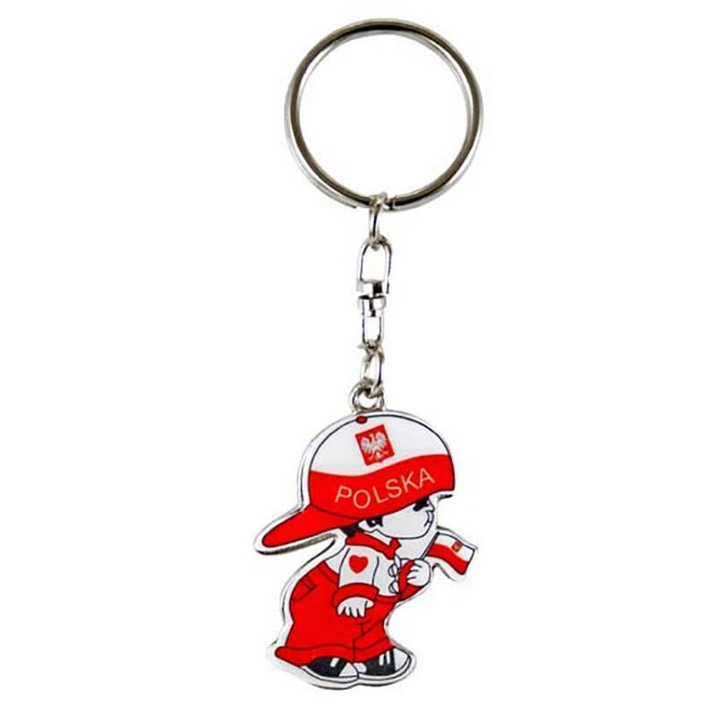 Porte-clés en métal, garçon au chapeau