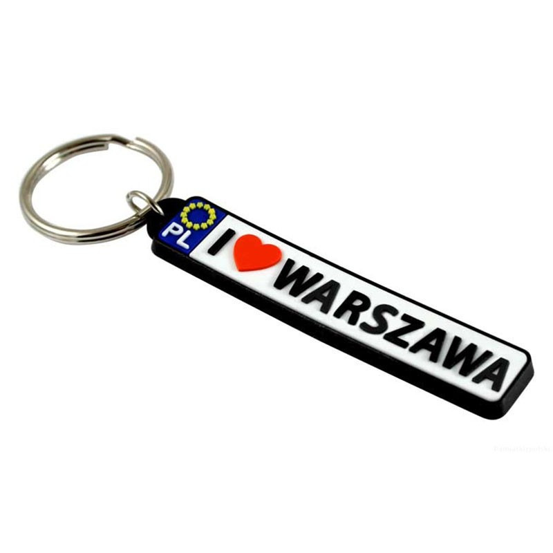 Porte-clés en caoutchouc - plaque d'immatriculation Varsovie