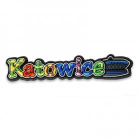Rubber fridge magnet inscription Katowice