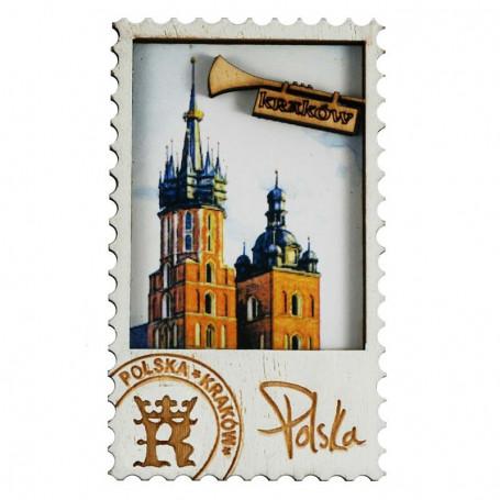 Imán de madera Torre de Cracovia de Santa María