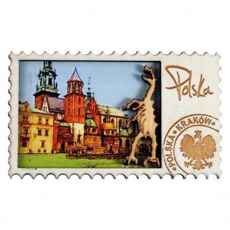 Aimant en bois Cracovie Cathédrale de Wawel
