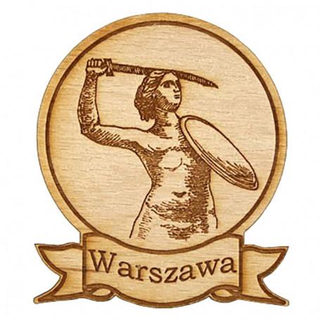 Aimant rond en bois Varsovie