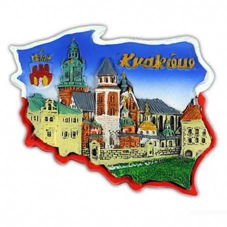 Imán contorno Cracovia, Catedral de Wawel