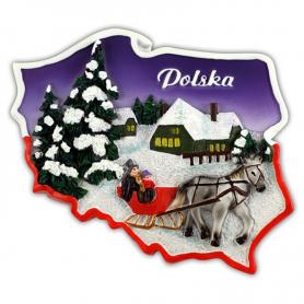 Contorno de imán. Invierno de Polonia
