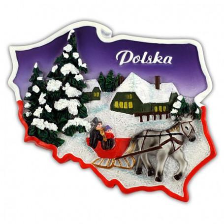 Magnet contour Pologne hiver