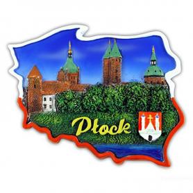 Fridge magnet, Poland shaped, Plock