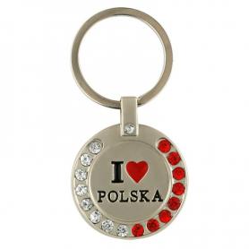 """Brelok metalowy z cyrkoniami, """"I love Polska"""""""