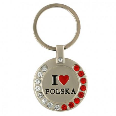 """Llavero de metal con circonita, """"Me encanta Polonia"""""""