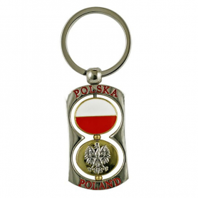 Porte-clés en métal rotatif avec deux roues