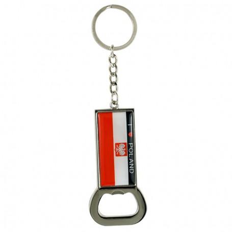 Ouvre-porte-clés en métal avec un drapeau