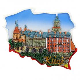 Fridge magnet, Poland shaped, Ksiaz