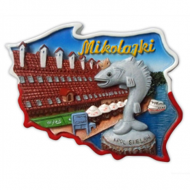 Fridge magnet, Poland shaped, Mikolajki