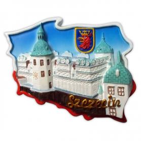 Fridge magnet, Poland shaped, Szczecin Castle