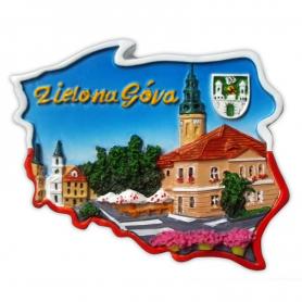 Fridge magnet, Poland shaped, Zielona Gora