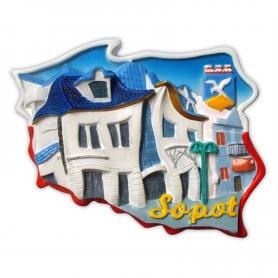 Fridge magnet, Poland shaped, Sopot crooked house