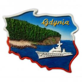 Fridge magnet, Poland shaped, Gdynia