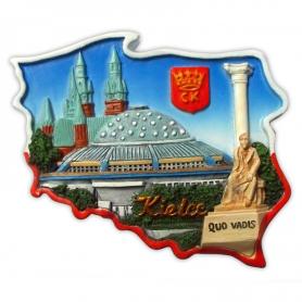 Fridge magnet, Poland shaped, Kielce