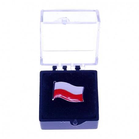 Botones, alfiler de bandera polaca, pequeno en una caja