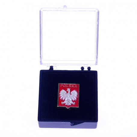 Boutons, embleme polonais de goupille dans un cas