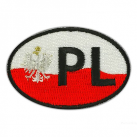 """Embroidery patch Poland """"PL"""""""