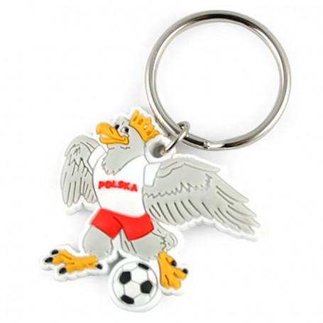 Porte-clés en caoutchouc - aigle avec une balle
