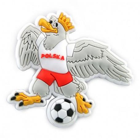Imán de goma - un águila con una pelota