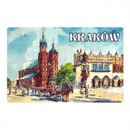 Magnes na lodówkę z efektem 3D Kraków obraz panorama