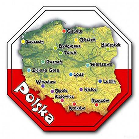 Imán con efecto 3D STOP Polonia, mapa