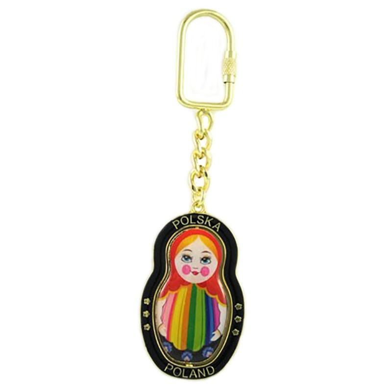 Porte-clés en métal, pivotant, matrioshka