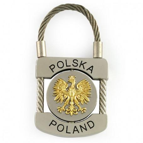 Llavero metálico, candado Polonia