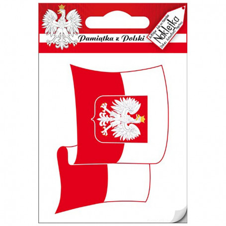 Sticker Single Poland - agitant le drapeau