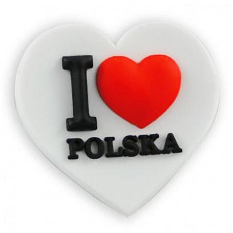 Aimant en caoutchouc - J'aime la Pologne
