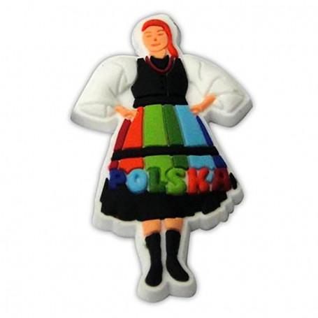 Aimant en caoutchouc - costume folklorique Polonaise