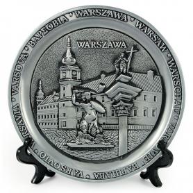 Souvenir metal plate Warsaw